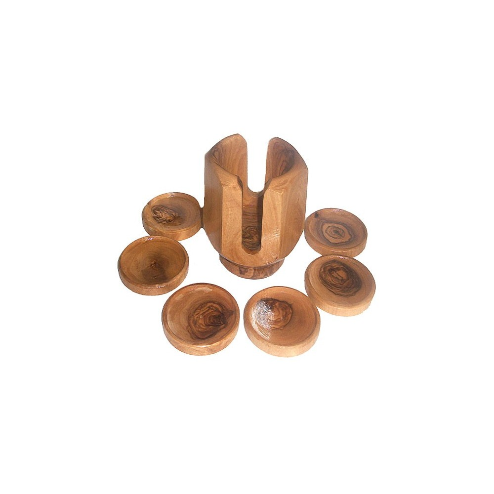 6 wooden saucers olivewood