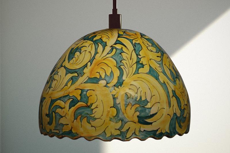 Lampe de plafond en céramique, un motif floral