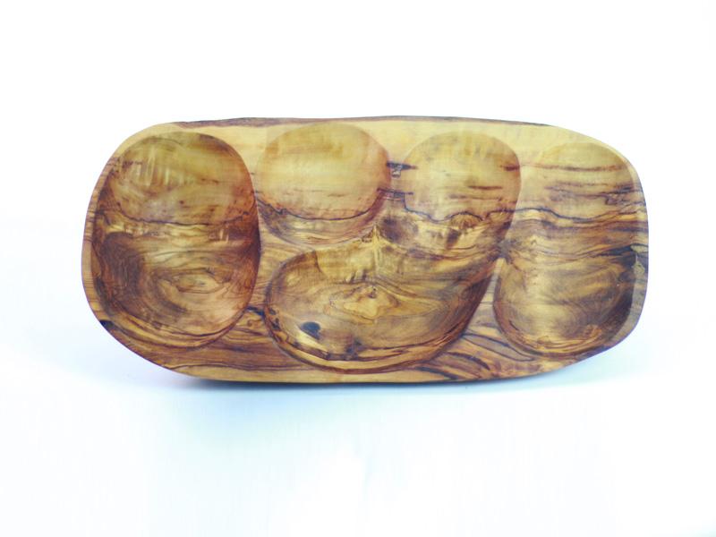 Ravier à 4 compartiments en bois d'olivier