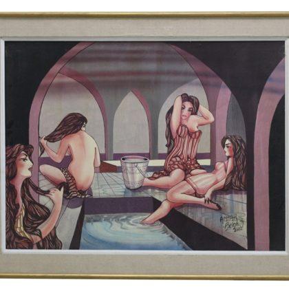 Scène de femmes dans un bain maure